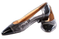Black and metallic flat shoes
