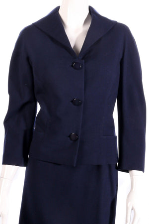 Larry and popper navy skirt suit  detail