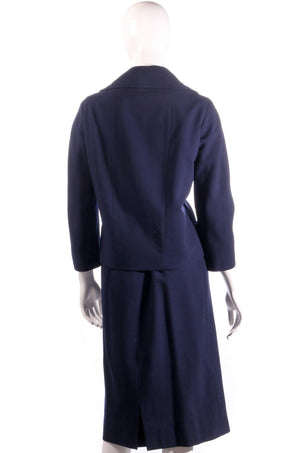 Larry and popper navy skirt suit back
