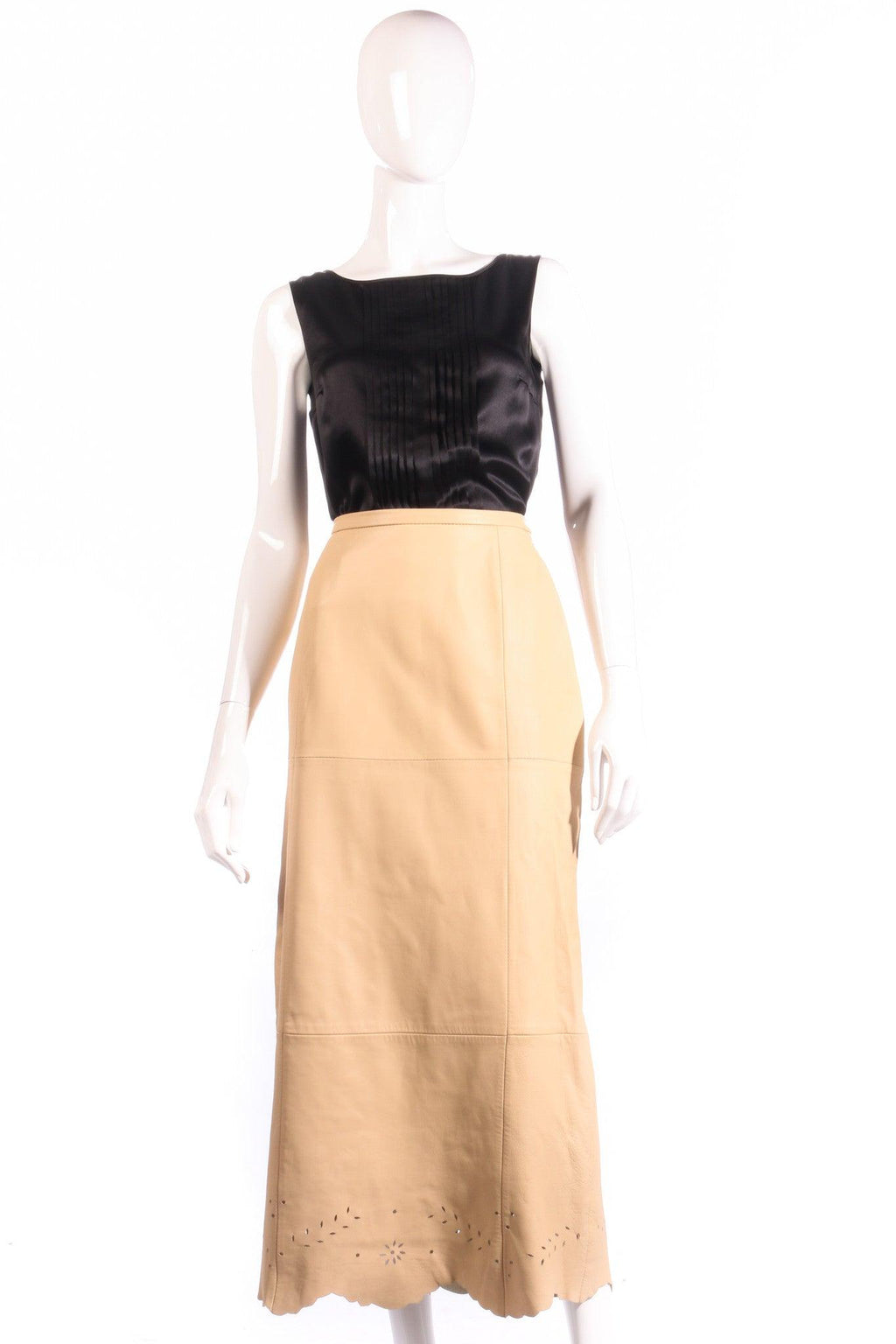 Prestige beige leather skirt with cut out detail size 12