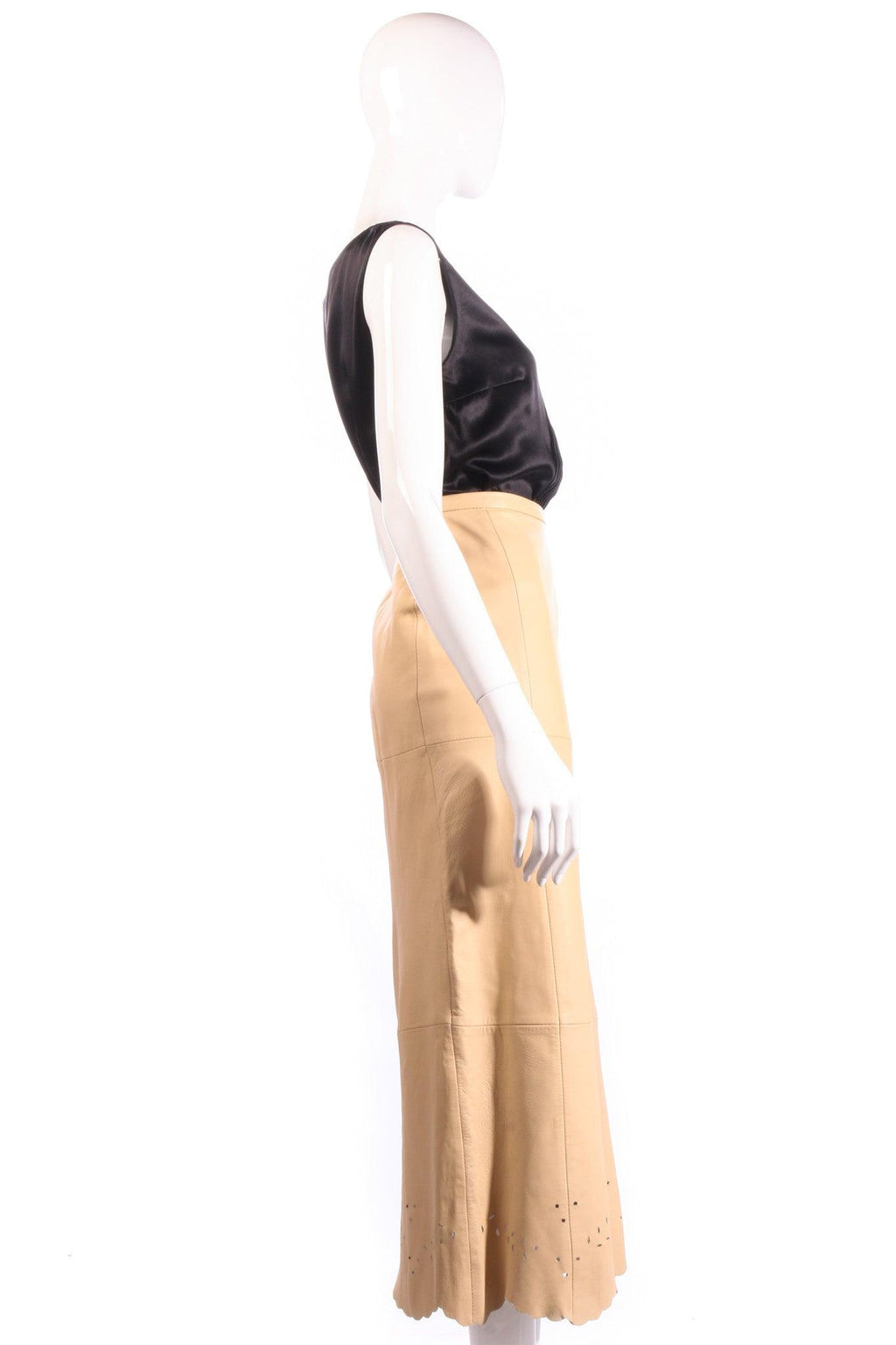 Prestige beige leather skirt with cut out detail size 12 side