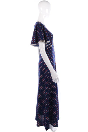 1970s vintage blue spotted dress size S/M