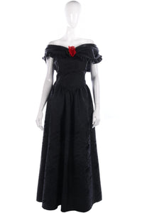Classic black off shoulder ball gown with red rose
