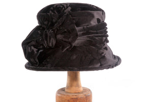 Markson black hat with floral pattern