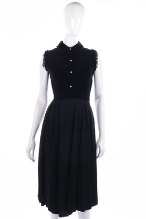 Lovely black vintage velvet and crepe dress size S