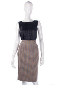 Aquascutum Knee Length Skirt Pure Wool Brown Check. Size 8