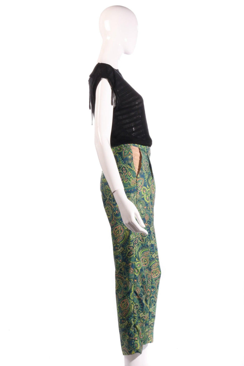 Melene Birger green floral cropped trousers  side