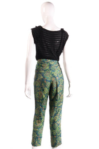 Melene Birger green floral cropped trousers  back