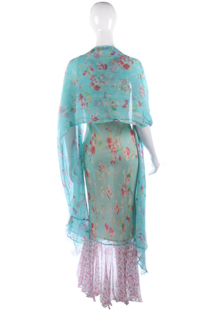 Amazing long silk chiffon dress with matching blue stole
