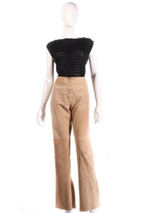 Equation suede lace up front beige trousers size 14