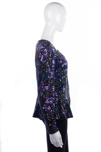 Oleg Cassini Black Tie Sequinned Jacket Silk Multicoloured Size 14
