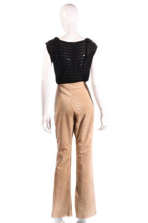 Equation suede lace up front beige trousers size 14 back