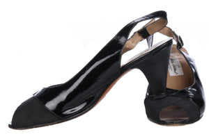 Savour (?) Italian Patent Leather Sling Back Shoes Size 37 1/2