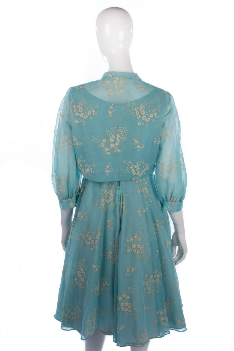 Peter Robinson blue floral dress and jacket with textured flower details