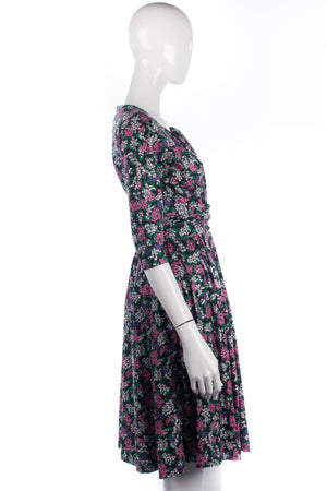 Fred Howard Vintage Dress Cotton Floral with Diamante Buttons UK Size 10