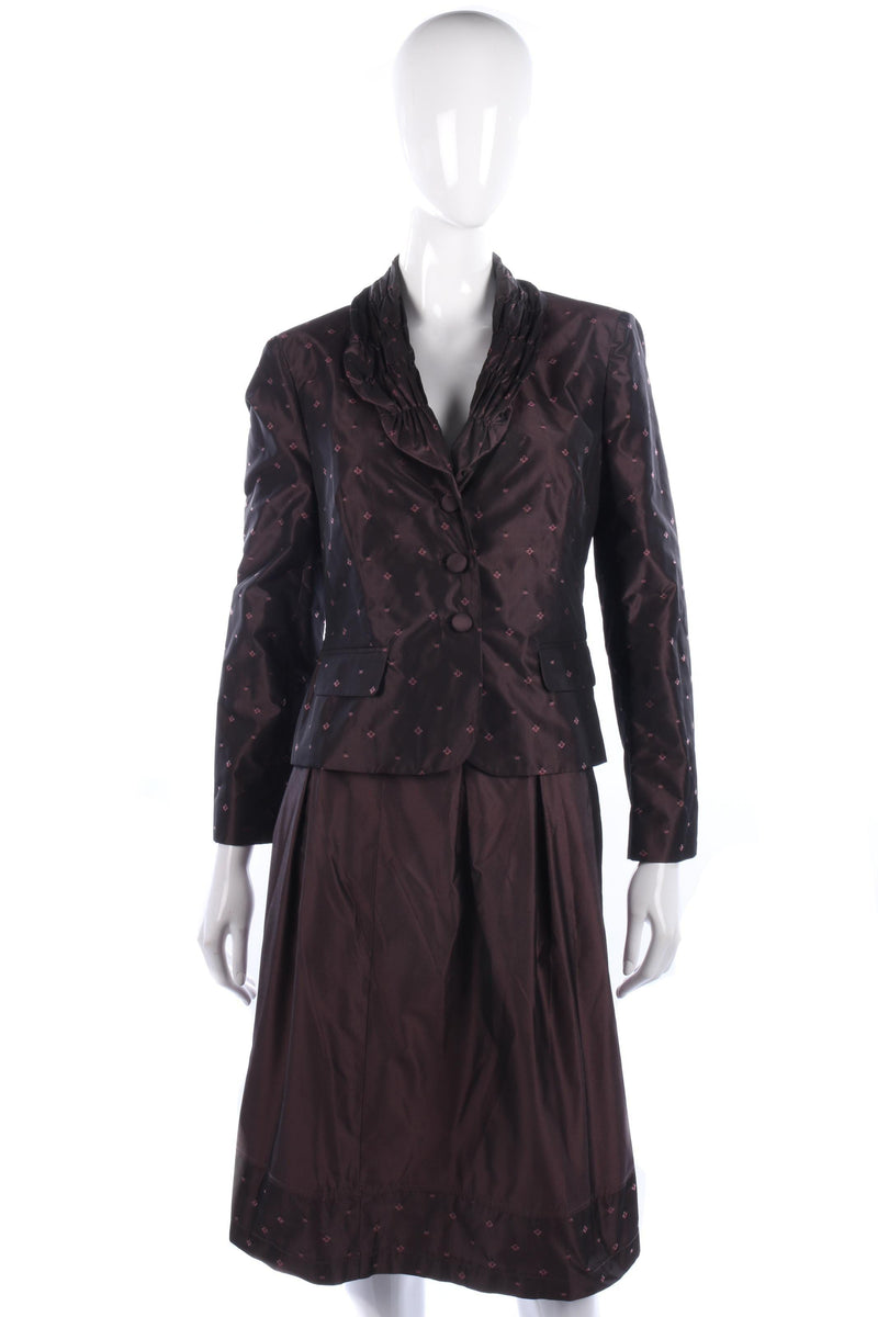 Devernois plum floral skirt suit size M/L