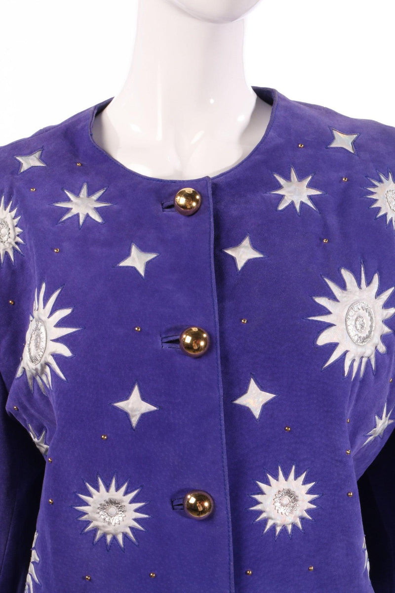 Vintage 1980's bomber Jacket purple suede with silver appliqué detail