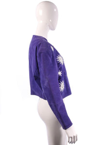 Miss Joy Authentics 1980's Jacket Suede Purple & Applique Size 14/16