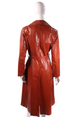 Vintage leather trench coat brown size M