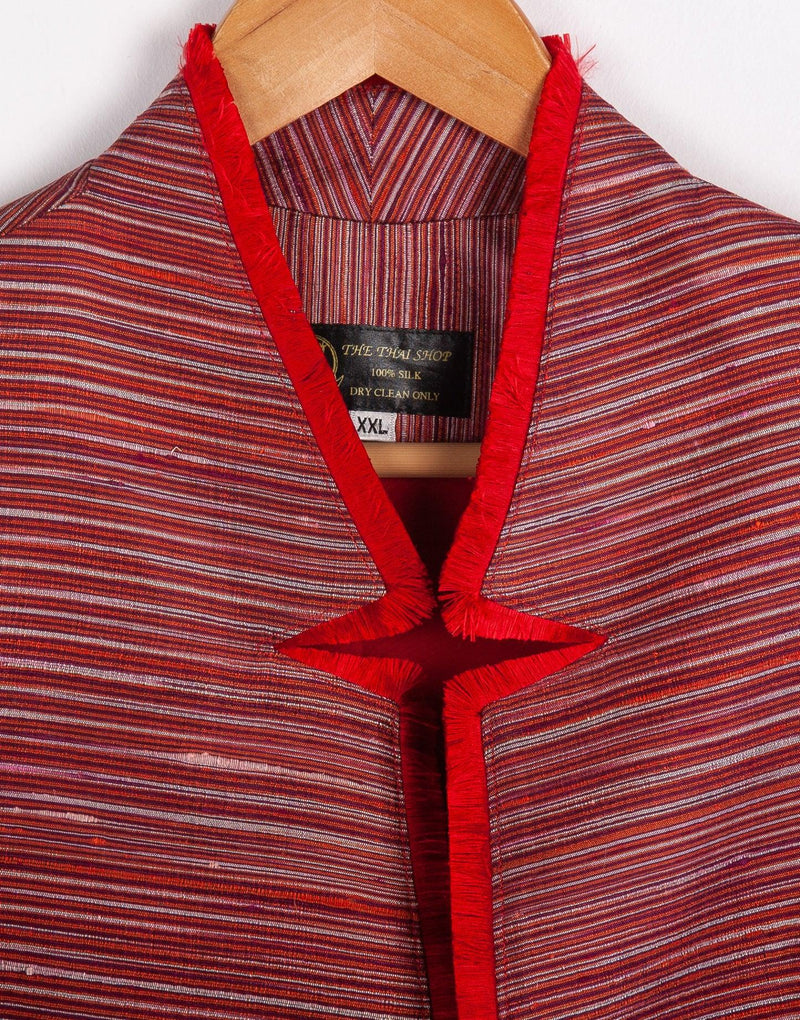 The Thai Shop Pure Silk Jacket Red and Cream Stripe Size L