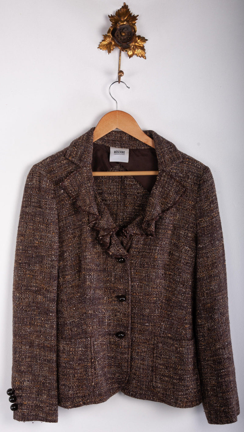 Moschino Cheap and Chic Brown Wool and Silk Mix Jacket Brown with Ruffles Size 14