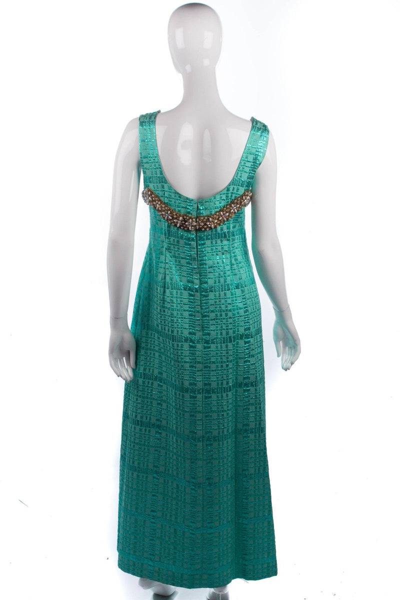 1950's Full Length Dress & Cape Metallic Green Brocade Size M