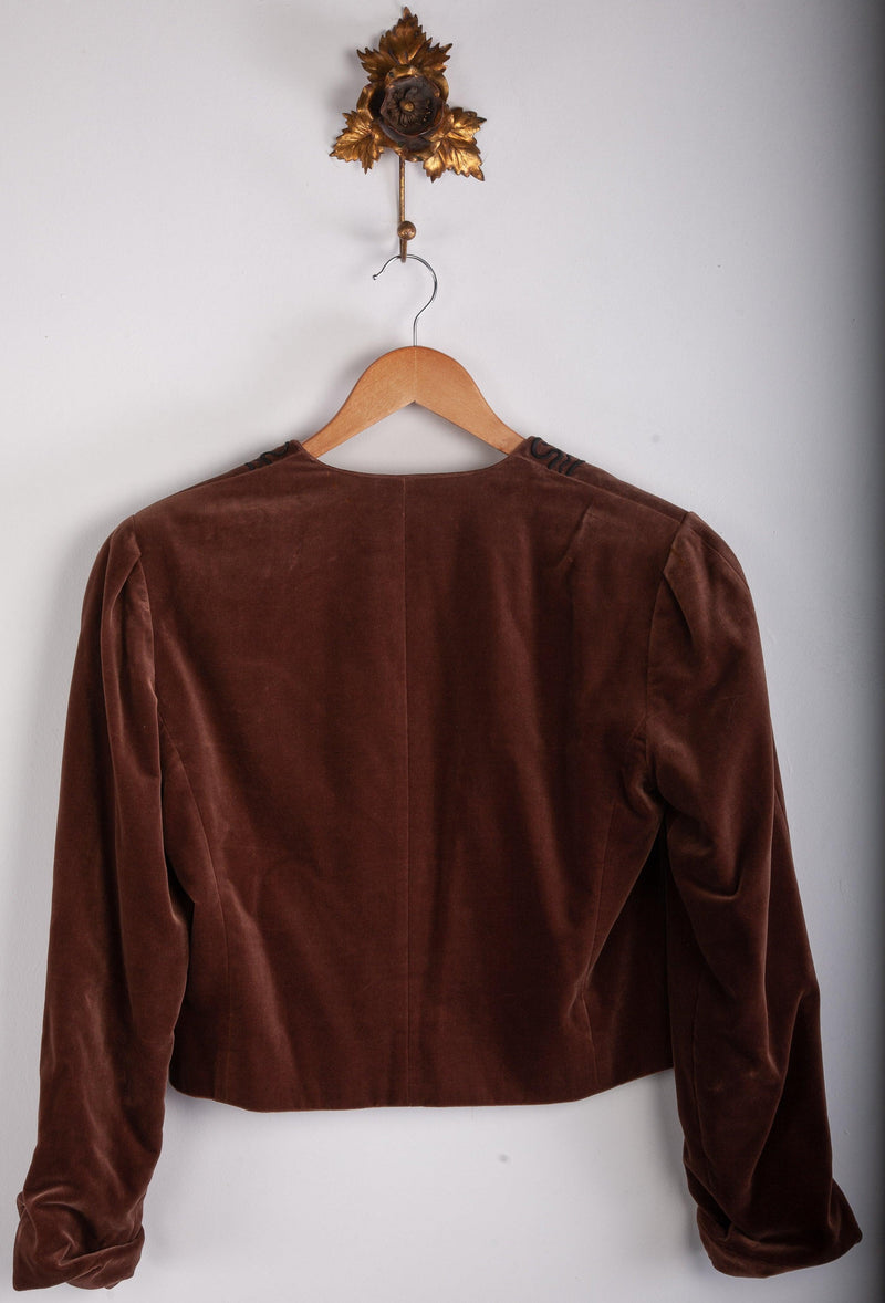 Jaeger Velvet Jacket Brown with Black Detail Size 8