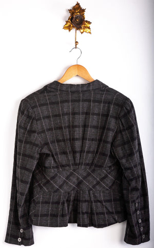 Karen Cole Wool Mix Jacket Grey and Black Check Size M