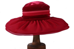 Velvet and organza Mitzi London vintage hat with floral details, deep red