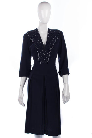 Vintage navy 1940's wool dress with large collar and white beading details