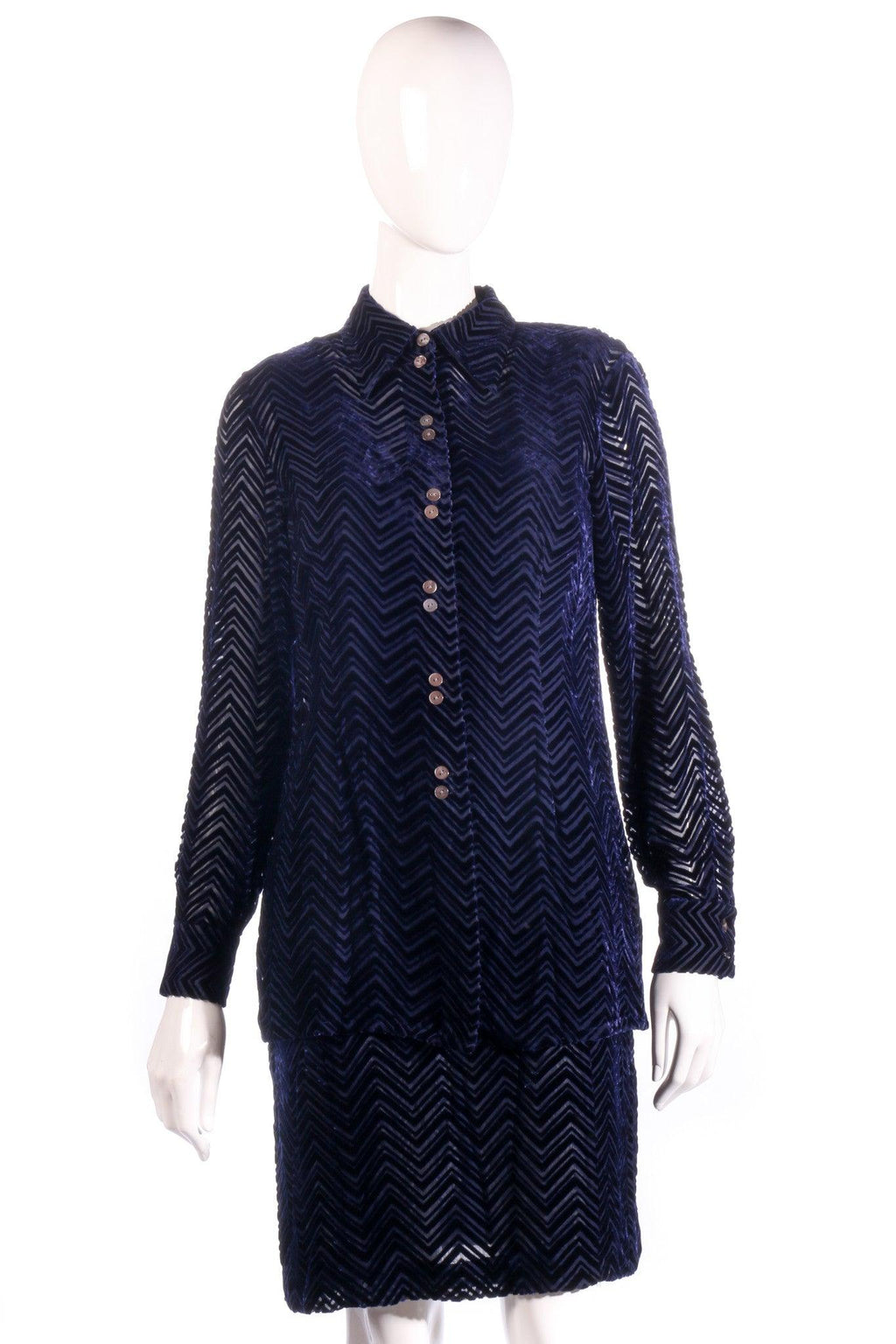 Austin Reed blue velvet shirt and skirt  size 6