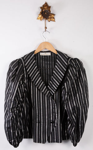 Avantgarde Short Bolero Style Jacket with Puff sleeves. 1980's Black and Silver. Eur 40 (UK12)