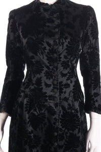 Black floral coat with buttons detail