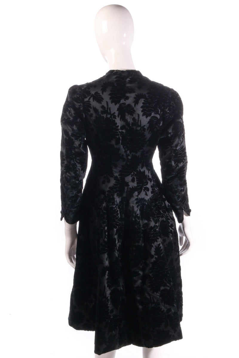 Black floral coat with buttons back