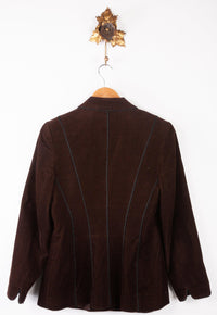 Caroline Charles Corduroy Jacket Brown with Black Piping Size UK 12