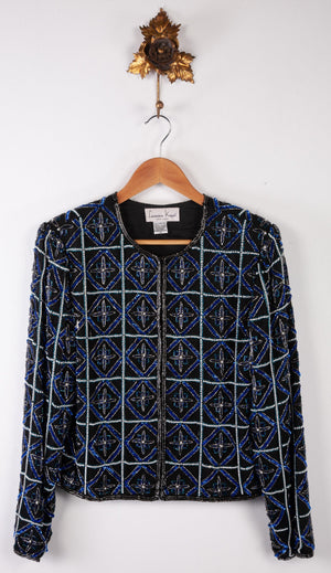 Laurence Kazar Beaded Jacket Black with Blue beading 100% Silk Size M