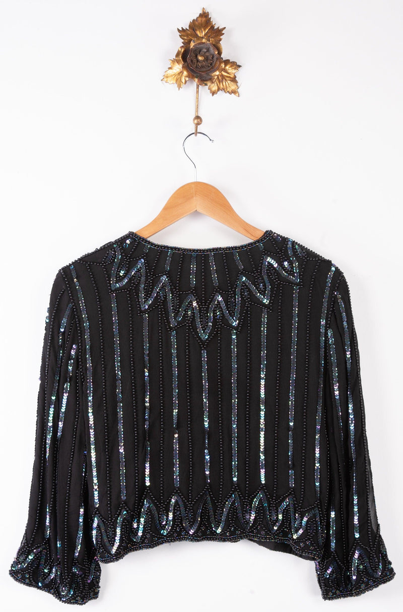 Kuku Esprit du soir from Sudi Vintage Beaded Jacket Black Size UK 6