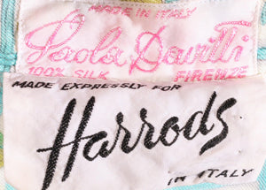 Harrods green floral sleeveless blouse label