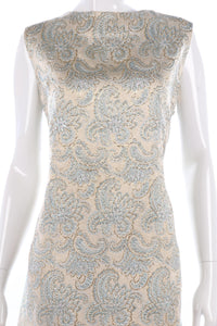 Beautiful 1960's gold and blue embroidered shift dress size M