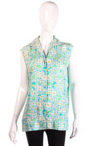 Harrods green floral sleeveless blouse