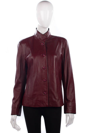 Pieles Yusra Leather Jacket Burgundy Size 44 (UK 12)