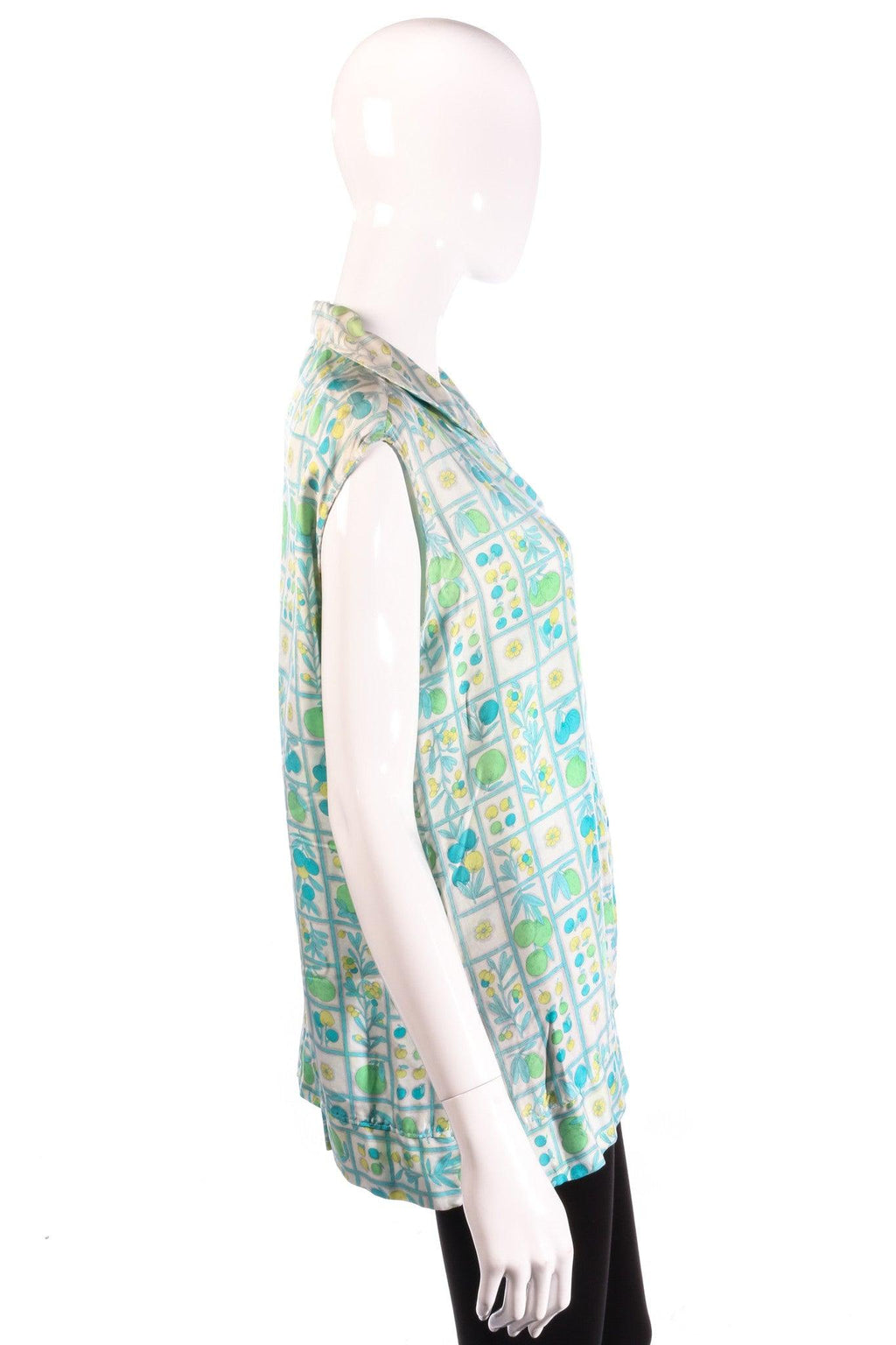 Harrods green floral sleeveless blouse side