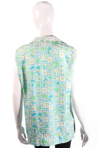 Harrods green floral sleeveless blouse back