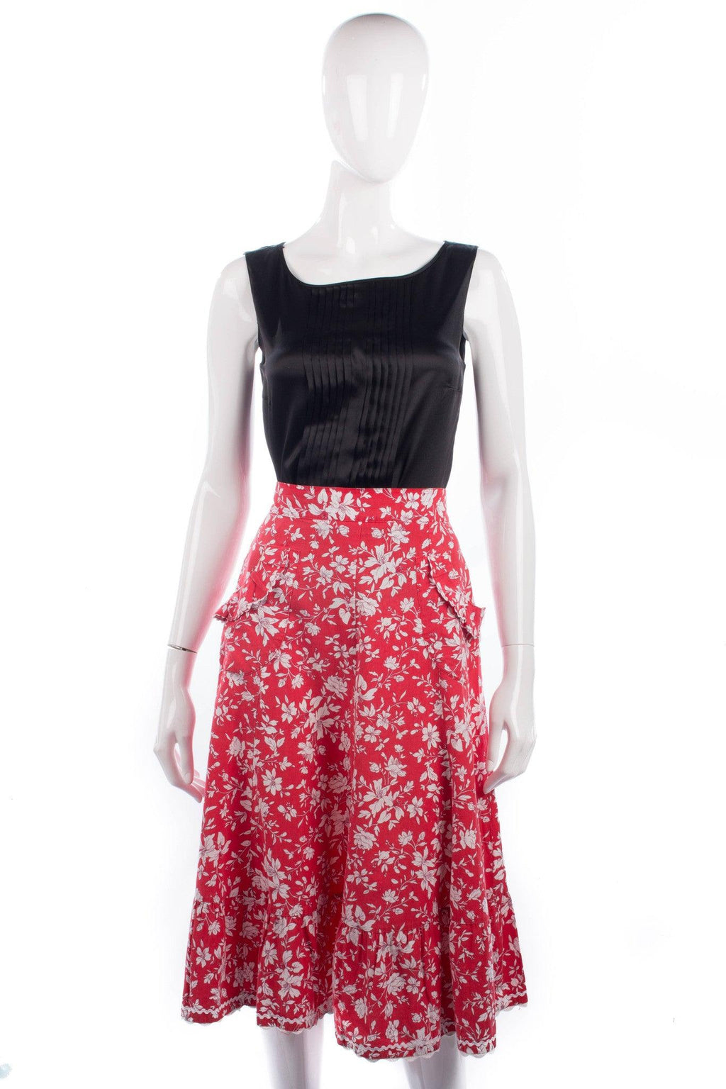Exclusive Fashion Vintage Skirt Cotton Red Floral with Pockets UK10/12
