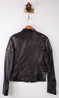 Miss Sixty Brown Biker Style Leather Jacket with Patent Accents Size M (UK 10)