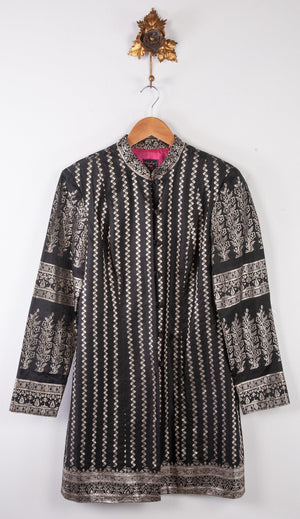 Indy By Libby Coat Raw Silk Black and Silver Embroidery UK 12