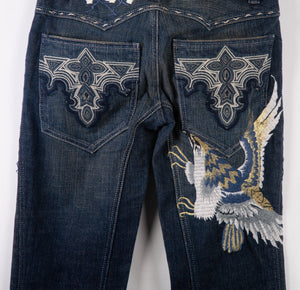 Antik Denim Jeans Flowers, Eagle and Tribal Embroidered with Tags Size 26