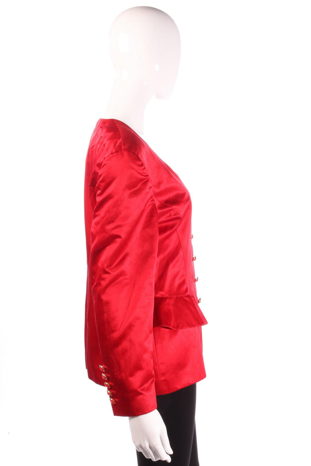 Escada red jacket with peplum frills side