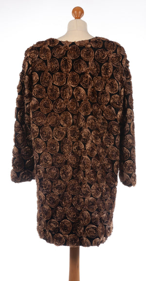 B.S.T. Tailors Kuwait Evening Coat Black with Bronze Flowers UK 18