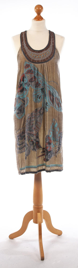 Conditions Apply Embroidered Butterflies Velvet Dress Moss Green est UK 8